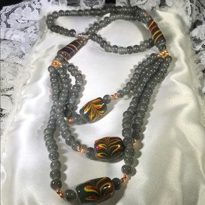 Vintage 1950's Glass Beaded Multi Strand Necklace